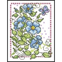 07063 Сини цветя с пеперуда