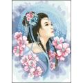 08108 Азиатска дама в синьо