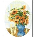 15006 Слънчогледи в синя ваза