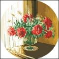 15013 Стъклена ваза с божури