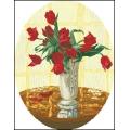 15020 Червени лалета във ваза - овал